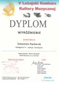 Wyróżnienie dla Sebastiana Pęcherka z klasy Fortepianu !!!