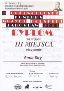 Sukces Ani Siry na Ogólnopolskim Konkursie Muzyki Polskiej !!!