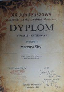 Sukces pianistów z klasy Pani Anny Dymek na XX Jubileuszowym konkursie w Sokołowie Małopolskim